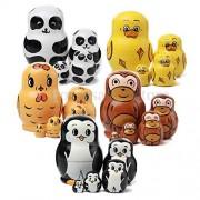 Tradico® TradicoBrand New 5 Layer Dolls Animal Nesting Wooden Duck Panda Chick Monkey Penguins Toy