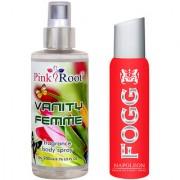 Fogg Napoleon Fragrant Body Spray 100ml and Pink Root Vanity Femme Fragrance body Spray 200ml Pack of 2
