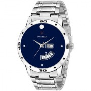 Svviss Bells Original Blue Dial Silver Steel Chain Day and Date Multifunction Chronograph Wrist Watch for Men - SB-1073