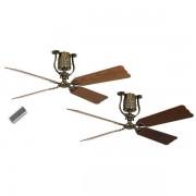 CasaFan Energiespar-Deckenventilator ROADHOUSE - Rotorblatt-Ø 1520 mm - Eiche antik / Nussbaum / Messing antik
