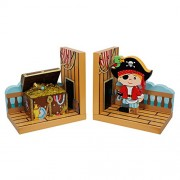 Pirates Island : Fantasy Fields - Pirate Island Thematic Set of 2 Wooden Bookends for Kids | Imagination Inspiring Hand Crafted & Hand Painted Details | Non-Toxic, Lead Free Water-based Paint