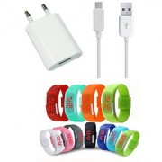Hi Speed USB Travel Charger with Digital LED Watch For Samsung Alcatel One Touch Pixi