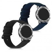 kwmobile 2X Pulsera Compatible con Huawei Honor Magic Watch 2 (46mm) Brazalete de Silicona Negro/Azul Oscuro sin Fitness Tracker