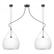 Sotto Luce Bílé závěsné svítidlo se 2 svítidly a detaily ve stříbrné barvě Sotto Luce MYOO Elementary