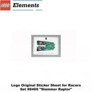 "Lego Original Sticker Sheet For Racers Set #8469 ""Slammer Raptor"""