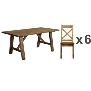 Cotswold Rustic Trestle Dining Table - Table + 6 Chairs