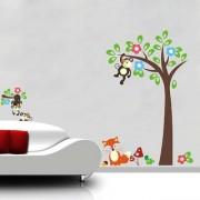 EJA Art Monkey tree Wall Sticker (Material - PVC) (Pec - 1) With Free Set of 12 pec butterflies sticker