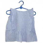 Krivi Kids Blue White Color Cotton Striped Top For Girl Baby.