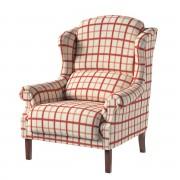 Dekoria Fotel Unique, ecru tło, czerwona kratka, 85 × 107 cm, Avinon