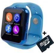 Ceas Smartwatch cu Telefon iUni V88 1.22 inch BT 64MB RAM 128MB ROM Albastru + Card MicroSD 4GB Cadou Bonus Bratara Roca Vulcanica unisex