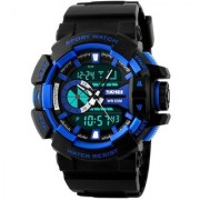 Shhira Skmei Dual Time Black Blue Sports Analog Digital Watch for Men And Boys