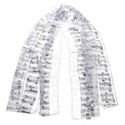 Musikboutique Hahn Scarf with Sheet Music White