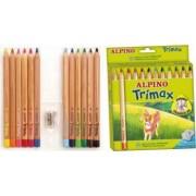 Creioane colorate ALPINO Trimax Jumbo triunghiulare cutie carton 12 culori-set