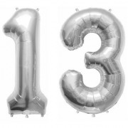 De-Ultimate Solid Silver Color 2 Digit Number (13) 3d Foil Balloon for Birthday Celebration Anniversary Parties