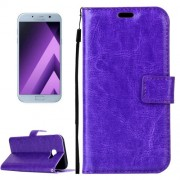 Samsung Galaxy A5 Case, (2017) / A520 Crazy Horse Texture Horizontal Flip PU Leather Case with Holder & Card Slots & Wallet & Photo Frame & Lanyard & Magnetic Buckle (Purple)