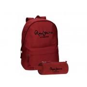 Set ghiozdan scoala adaptabil 42 cm + penar 23 cm Pepe Jeans Harlow rosu
