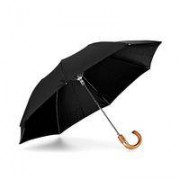 Compact Umbrella Wooden Handle Black Fabric