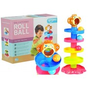 Toddler Development Educational Toys, Stack, Drop and Go Ball Ramp Toy Set Includes 3 Spinning Activity Rattle Balls with Bells