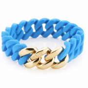 The Rubz Natural Silicone 15mm Unisex Bracelet Turquoise & Gold