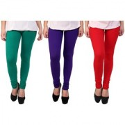 Stylobby Green Red And Purple Kids Legging Pack Of 3