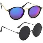 Elgator Cat-eye, Round Sunglasses(Blue, Black)