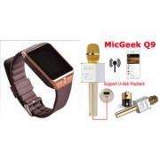 Mirza DZ09 Smart Watch and Q9 Microphone Karrokke Bluetooth Speaker for LG OPTIMUS L5 II DUAL(DZ09 Smart Watch With 4G Sim Card Memory Card| Q9 Microphone Karrokke Bluetooth Speaker)