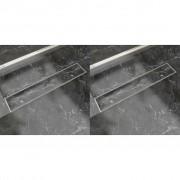 vidaXL 2 db lineáris rozsdamentes acél zuhany lefolyó 630 x 140 mm