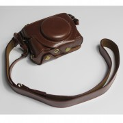 PU Leather Half Camera Case Bag with Strap for Canon PowerShot G5 X Mark II - Coffee