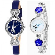 New Blue Diamond Studded On Case And Blue Crystal Studded Metal And Leather Strap Combo Watch For Women Analog Watch