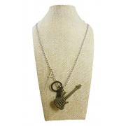 eshoppee Designer Antique Look Cross and Guitar Multi Locket Pendant with Chain Necklace for Man and Women, Boys and Girls Dog tag. (Antique nk 3)