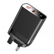 BASEUS Mirror Lake PPS Digital Display Type-C + USB Dual-port Quick Charger [UK Plug] - Black