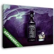 Jack Daniels üveg és whiskys pohár lila háttérrel (35x25 cm, Vászonkép )