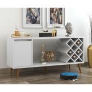 Aparador Buffet Chivas Retrô 1 Porta com Adega Branco Brilho - RPM Móveis