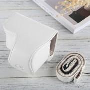 Full Body Camara Caja De Cuero De La PU Bolsa Con Correa Para Sony A6000 (blanco)