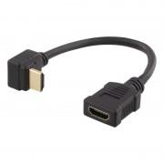 Deltaco flexibel HDMI-adapter, vinklad ner, HDMI M/F, UHD, 0.2m