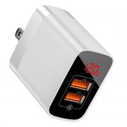 BASEUS Mirror Dual-QC 18W A+A Quick Wall Charger US Plug - White