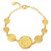 Bracelet Charms-Plaqué Or Jaune-Motif Pièce-17cm De Long-Bijoux Pour Femme