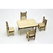 Masa cu 4 scaune obechi scara 1:20 KIT