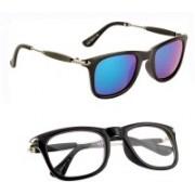 jazz style Wayfarer, Over-sized, Butterfly Sunglasses(Clear, Blue)