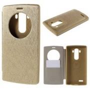 MERCURY Wow műanyag védő tok / hátlap - oldalra nyíló S-View cover flip, hívószámkijelzés, textilminta, bankkártya tartó - ARANY - LG G4 - GYÁRI