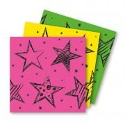 Folat 18x Papieren servetjes roze, groen en geel thema feestartikelen 33 x 33 cm