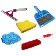 Stylewell Combo Of Mini Dustpan Broom Set Microfiber Hand Glove Towel Cloth Carpet Cleaning Brush Sprayer Glass Wiper