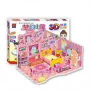 Monique DIY 3D Dream House Jigsaw Puzzles Pretty Dollhouse & Furniture Set Piecing & Inserting Puzzle Toys