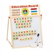 Tabla magnetica educativa pentru copii de dimensiune mare cu doua fete si rama din lemn