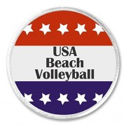 "A&T Designs USA Beach Volleyball Red White Blue Stars 3"" Sew On Patch"