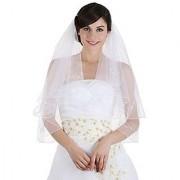 2T 2 Tier 8 x Beaded Motifs Pencil Edge Bridal Wedding Veil - Ivory Color Elbow Length 30 V23