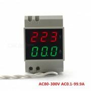 Amperimetro del voltimetro del carril de la CA 80-300V 100A - Gris