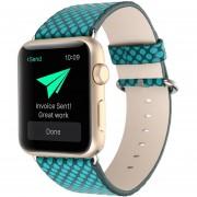 Louiwill Correa 38mm Cuero Auténtico Punto De La Onda Con Conector Para Apple IWatch Reloj Casual Band Estilo Deportivo (verde)