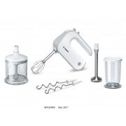 Mixer Bosch MFQ4080, 5 viteze+Turbo/Puls, XL chopper, picior blender din inox, vas mixare cu gradatii si capac, Alb/Gri
