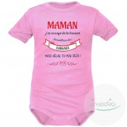 SiMEDIO Body bébé original : MAMAN j'ai essayé de te trouver le meilleur des cadeaux - Rose Courtes 18-24 mois